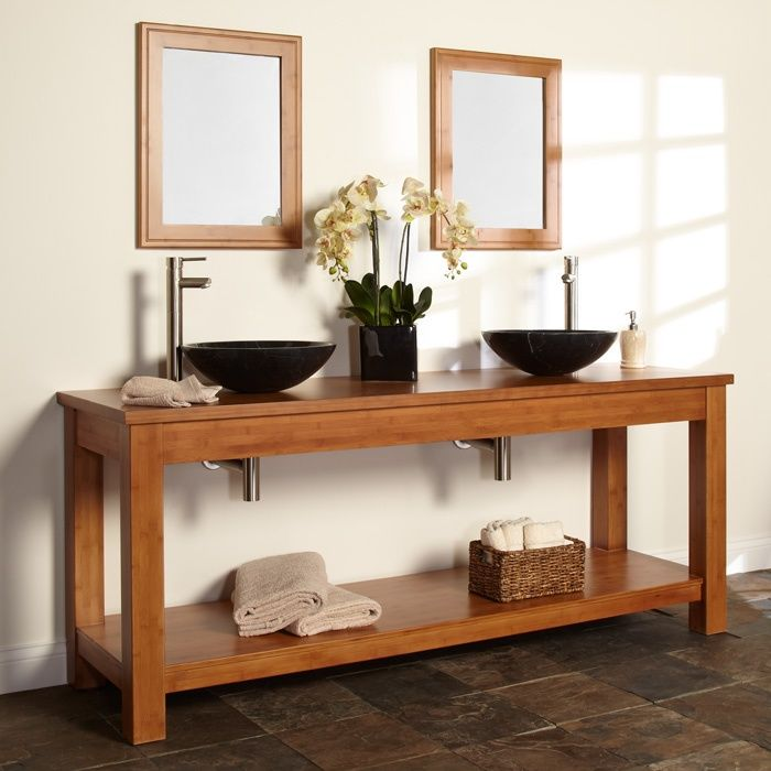 Double Sink Diy Vanity Kirin Bamboo Double Console Vanity With Bamboo Top For Vessel Sinks
