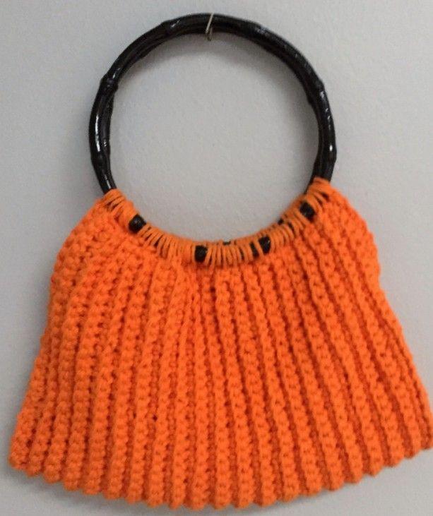 Crochet Hot Orange Ribbed Purse, Hand Held Purse, Shoulder Purse, Boho Purse…