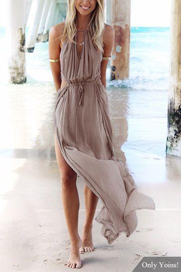Bohemia Sleeveless Back Lace-up Side Split Beach Maxi Dress