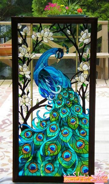 Beautiful Peacock glass by Artist Unknown