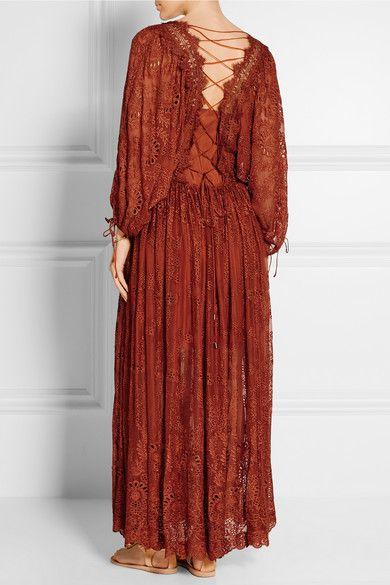 Burnt-orange broderie anglaise silk-georgette Lace-up back 100% silk; trim: 100% rayon Hand wash Designer color: Copper #stylingmrsoliver