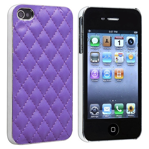 White Black Purple Pink Leather Chrome Luxury Hard Case for iPhone 4 4S 4GS | eBay