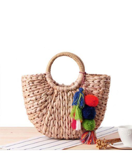 Strandtasche mit Pompoms Klein, Stroh   Accessories