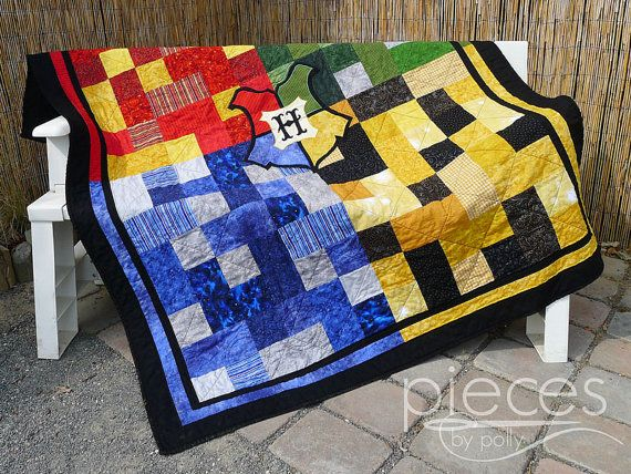 Harry Potter Inspired Hogwarts House Quilt - FREE Hogwarts Letter Included - Gryffindor - Ravenclaw, Hufflepuff, and Slytherin