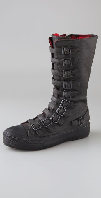 High Top Black Canvas sneaker boots