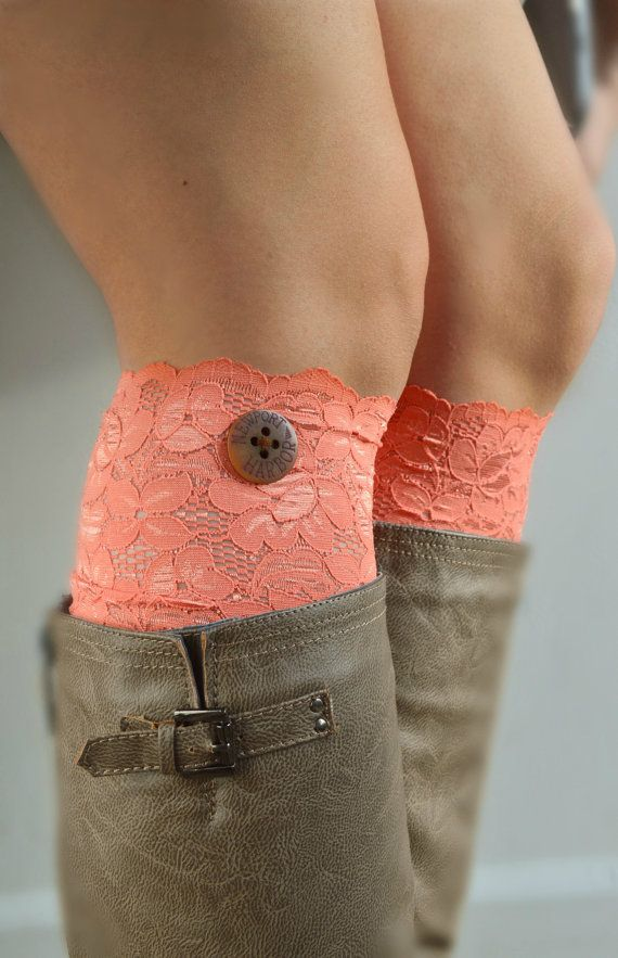 Coral Lace Boot Cuff socks Soft Stretch lacy socks by JLeeJewels