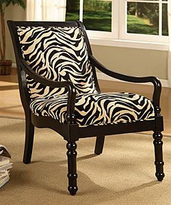 """Turned Leg Zebra Print Arm Chair; Chair measures 40""""H x 25.25""""W x 30""""D; Assembly required; Overstock.com"""