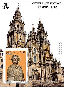 Sello de Correos sobre la Catedral de Santiago de Compostela.