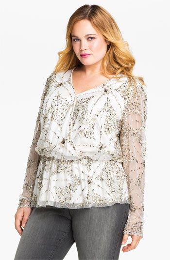 Adrianna Papell 'Dream Girls' Top (Plus) available at #Nordstrom. I want to wear this for Christmas day even though I know I will spill red wine and pasta sauce all over it