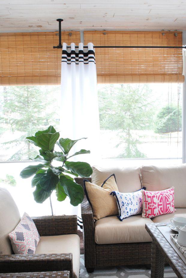 screened porch makeover sources corner curtain rodcorner