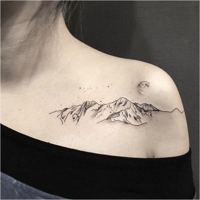 #Tattoo Beautiful Mountain Tattoos For Women, Click to See More... | tattoo | Tatuajes naturaleza, Tatuajes de luna y Tatuajes interesantes