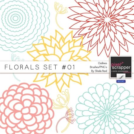 Florals Set #01 Outlines Brushes/PNG's Kit by Sheila Reid:)