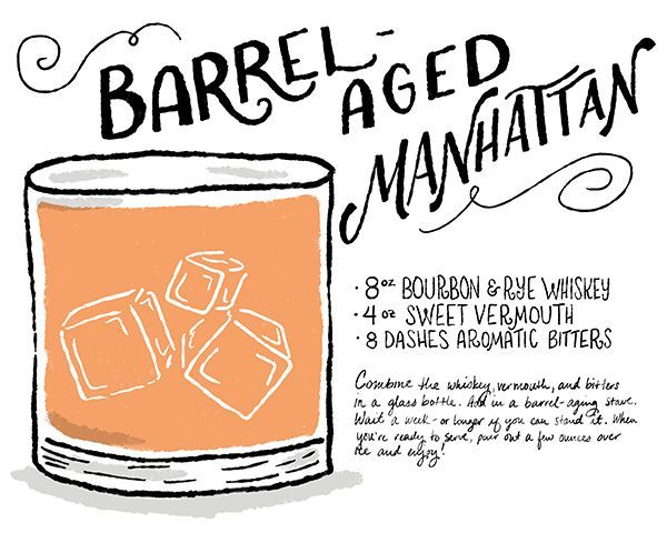 The Best Cocktail Recipes of 2014: http://ohsobeautifulpaper.com/2015/01/best-of-2014-the-best-cocktail-recipes/ | Barrel-Aged Manhattan | Illustration: Shauna Lynn #OSBPhappyhour