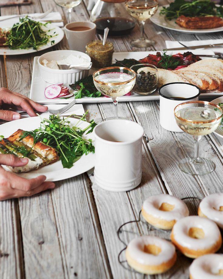 spring brunch - home cured gravlax, spring pea + dandelion salad, honey lemon asparagus tart and baked lemon doughnuts with lavender glaze