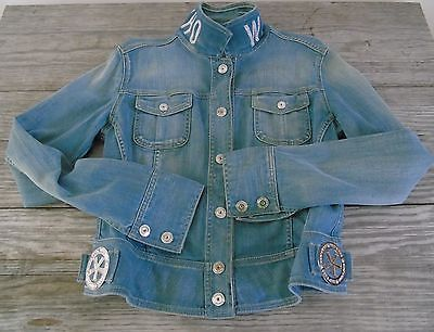Trucker Denim Jean Jacket Italian Fashion Designer Who*s Who Womens Sz 46 EU