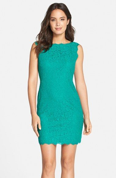 Adrianna Papell Boatneck Lace Sheath Dress Regular Pee Available At Nordstrom
