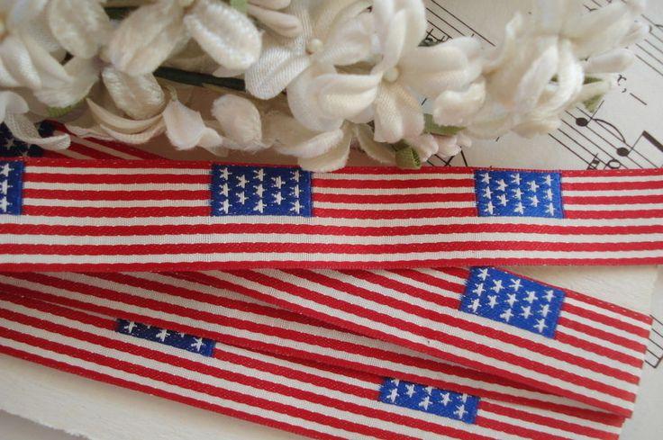 4y RED WHITE BLUE USA FLAG GROSGRAIN RIBBON TRIM PATRIOTIC ANTQ VTG 4TH JULY HAT