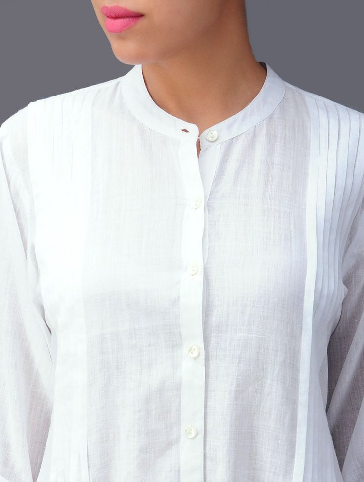 White Pleated Cotton Kurta - Buy Apparel > Tunics & Kurtas > White Pleated Cotton Kurta Online at Jaypore.com