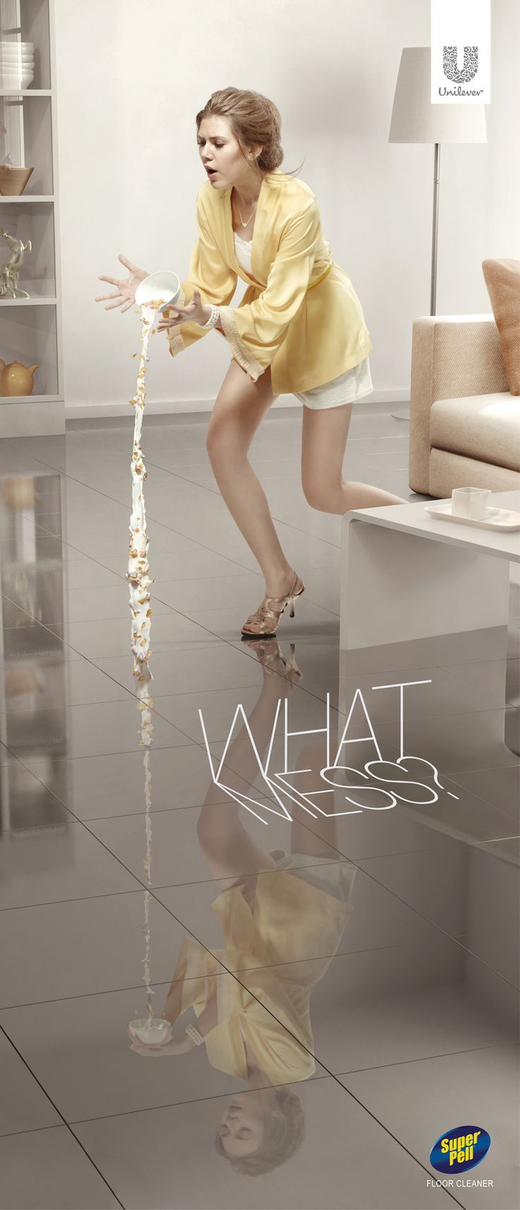 Super Pell Floor Cleaner: No mess #Cereal #Advertising #Unilever
