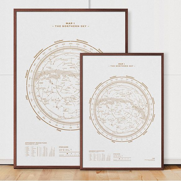 The Northern Sky Map No. 1 hvid-guld / white-gold
