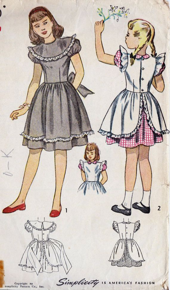 1940s Girls Dress Vintage Sewing Pattern