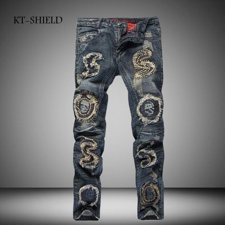 >> Click to Buy << Mens Rivet Ripped Jeans pants Brand Punk Slim fit Biker Denim full length trousers Masculina Pantalones skinny Jean Distressed #Affiliate