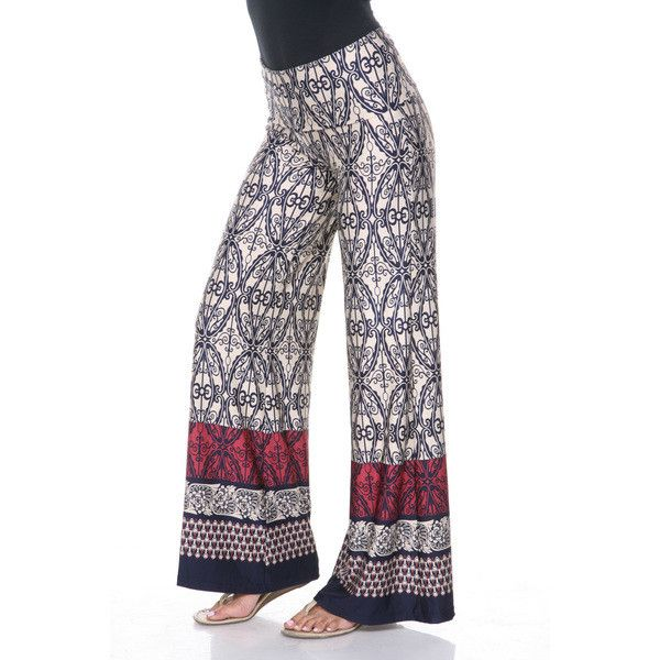 Women's White Mark Printed Palazzo Pants (1,040 DOP) ❤ liked on Polyvore featuring pants, wide leg patterned pants, white wide leg trousers, white trousers, palazzo pants and white pants