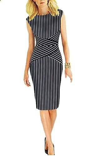 BAIMIL Women Vertical Stripe Summer Wear to Work Casual Party Pencil Dress Black  Go to the website to read more description.
