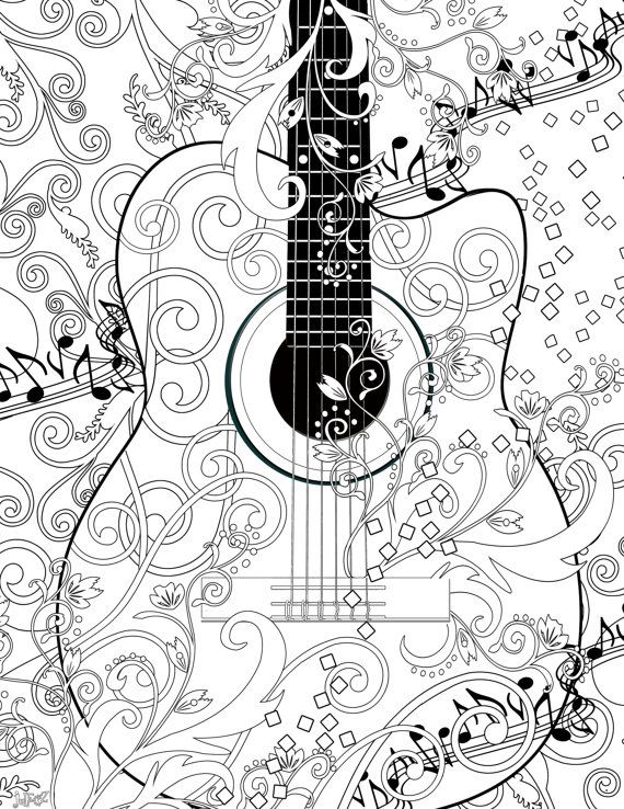 adult coloring page printable adult guitar coloring poster instant download by juleez