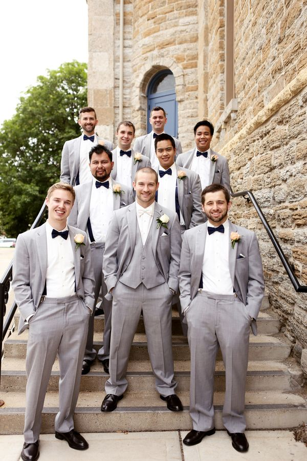 Peach and Gray wedding - Groom and groomsmen style