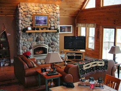Adirondack River Rock Fireplace in Living Room