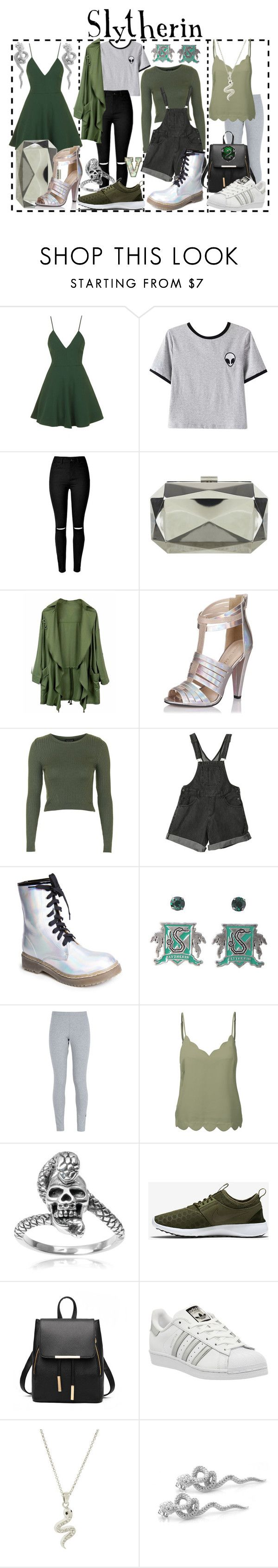 Slytherin (Harry Potter) by fabfandoms on Polyvore featuring Topshop, LE3NO, Chicnova Fashion, NIKE, Little Mistress, adidas, Miss Selfridge, Tressa, De Buman and Andrew Hamilton Crawford
