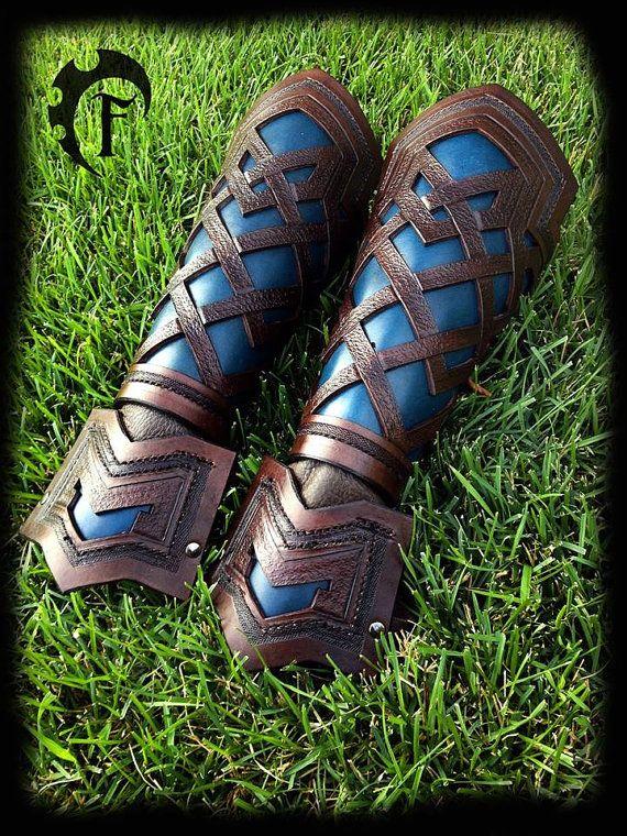 Dwarven Leather Bracer larp larping larper armor by FeralCrafter