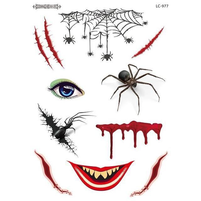 New Waterproof Temporary Tattoo Sticker for Kids Men Women Scary Mask Sticker Halloween Ghost Face Sticker Tattoo Party Supplies – Products