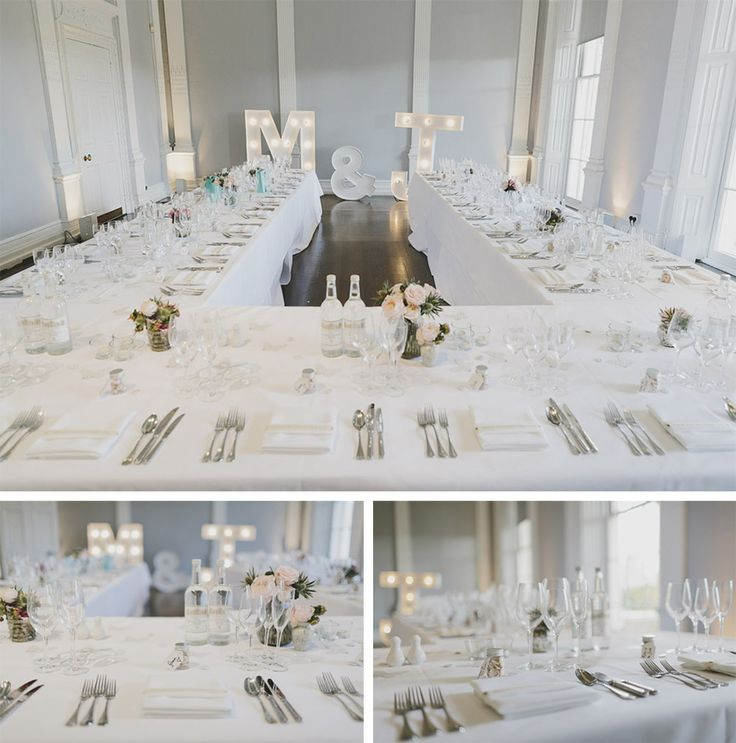 Clean and crisp tablescape with illuminated letters at the ICA for Jenni and Matt's wedding. Photographed by Murray Clarke.