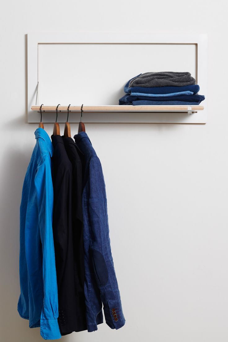 Unfolded it is a clothes rail as well as shelf. Of course it is combinable with our Fläpps #shelvingsystem. #hiddenshelf