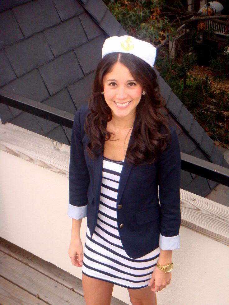 DIY Halloween: Sailor. Target sailor hat, H&M stripe dress, Gap blazer and Sperry boat shoes mariaonpoint.com