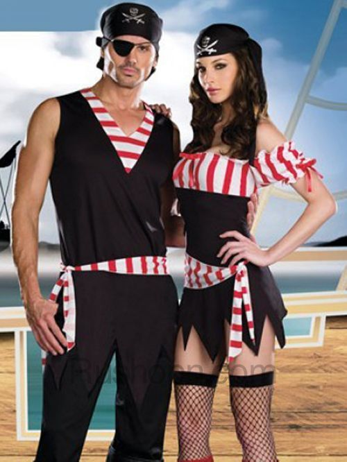 red white stripe black sleeveless fiber sexy adult pirate costumes for men