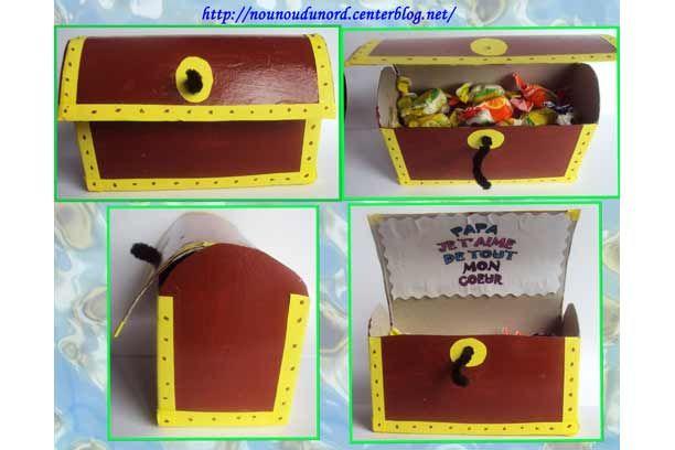 Coffre fort en carton, découpé et peint par la petite Lison, offert à son Papa pour la fête des Pères, rempli de bonbons aux fruits acidulés...