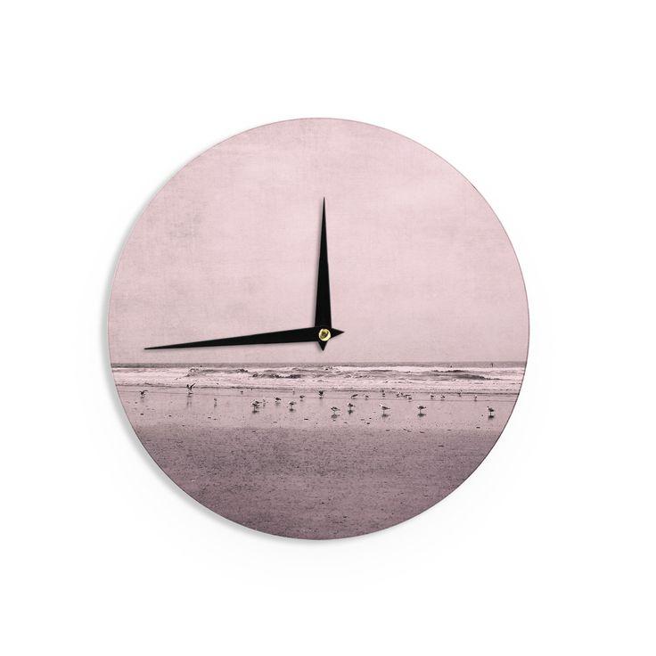 "Iris Lehnhardt ""Seagulls"" Pink Nature Wall Clock"