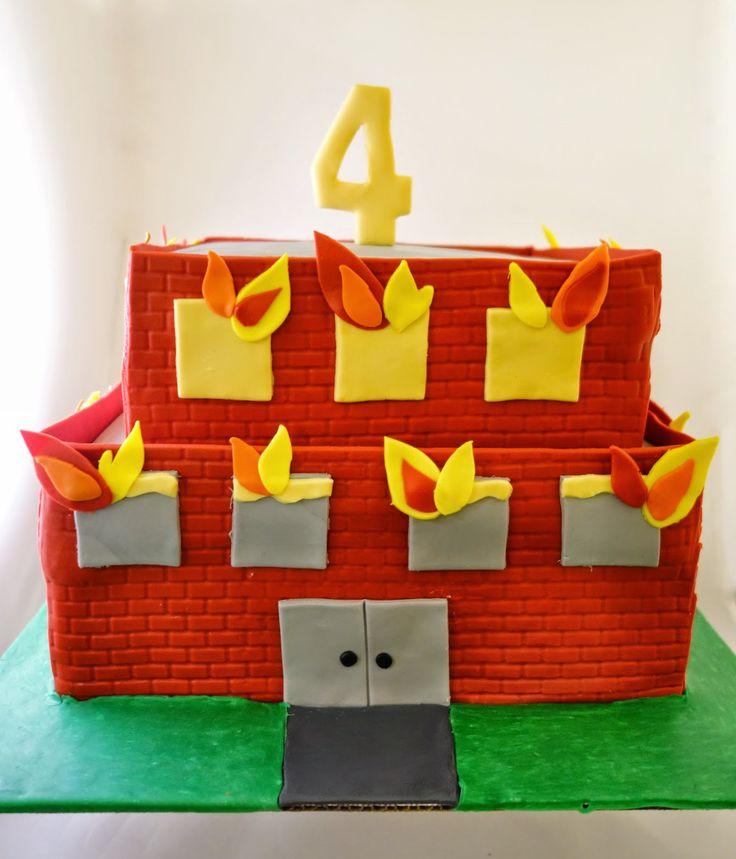 Burning Building Cake