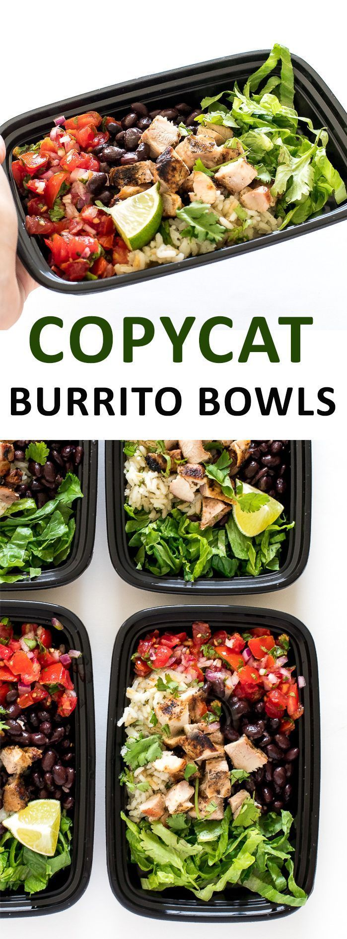 Super Easy Chicken Burrito Bowls. Made with homemade salsa, cilantro lime rice and grilled chipotle chicken. Perfect for meal prep!