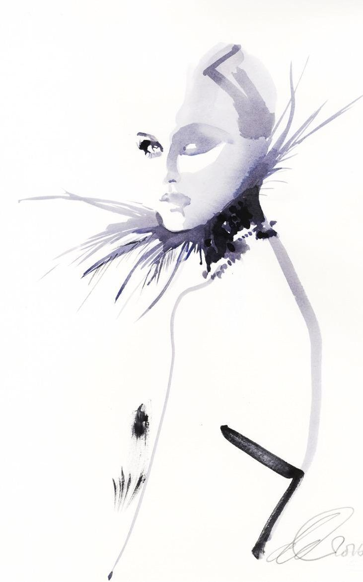 Valentino illustration by David Downton