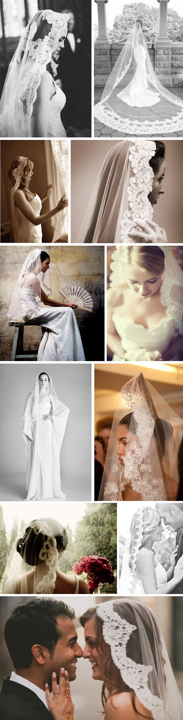 mantilla veils - absolutely beautiful. won't work for all brides and dresses but still beautiful!