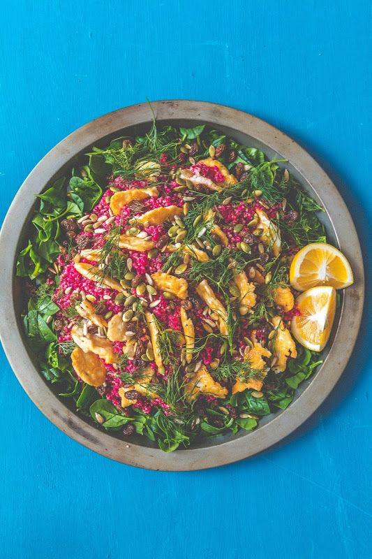 Beetroot, Quinoa and Spinach Salad with Haloumi, Sultanas and Dill 9
