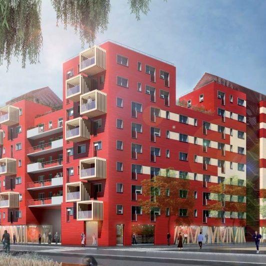 PROJET LAUREAT DU CONCOURS DE L'ILOT BIOSOURCE A STRASBOURG   Construction innovante de logements, commerces et bureaux en matériaux biosourcés.  More on http://www.atelier-d.fr/