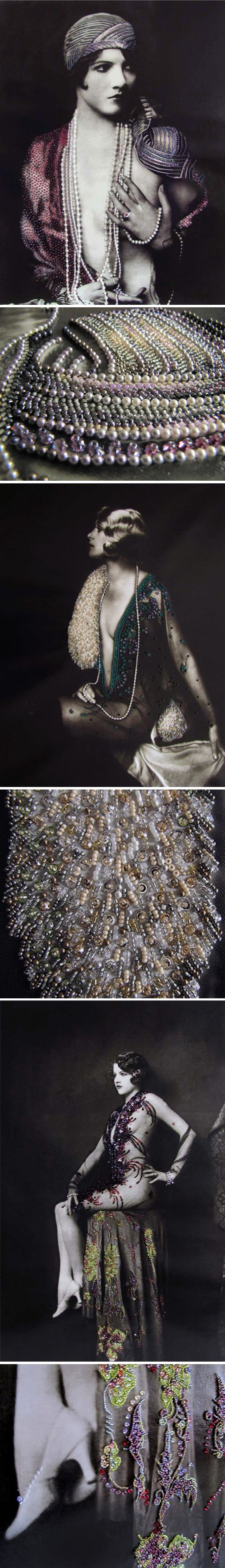 binka rigava covers 1920s photos, by alfred cheney johnston, in teeny tiny beads! (in a beautiful bar in new orleans) <3<3<3