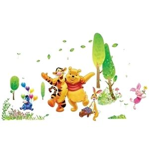 Modern Style Winnie the Pooh and His Friends Colorful PVC Plane Wall Stickers
