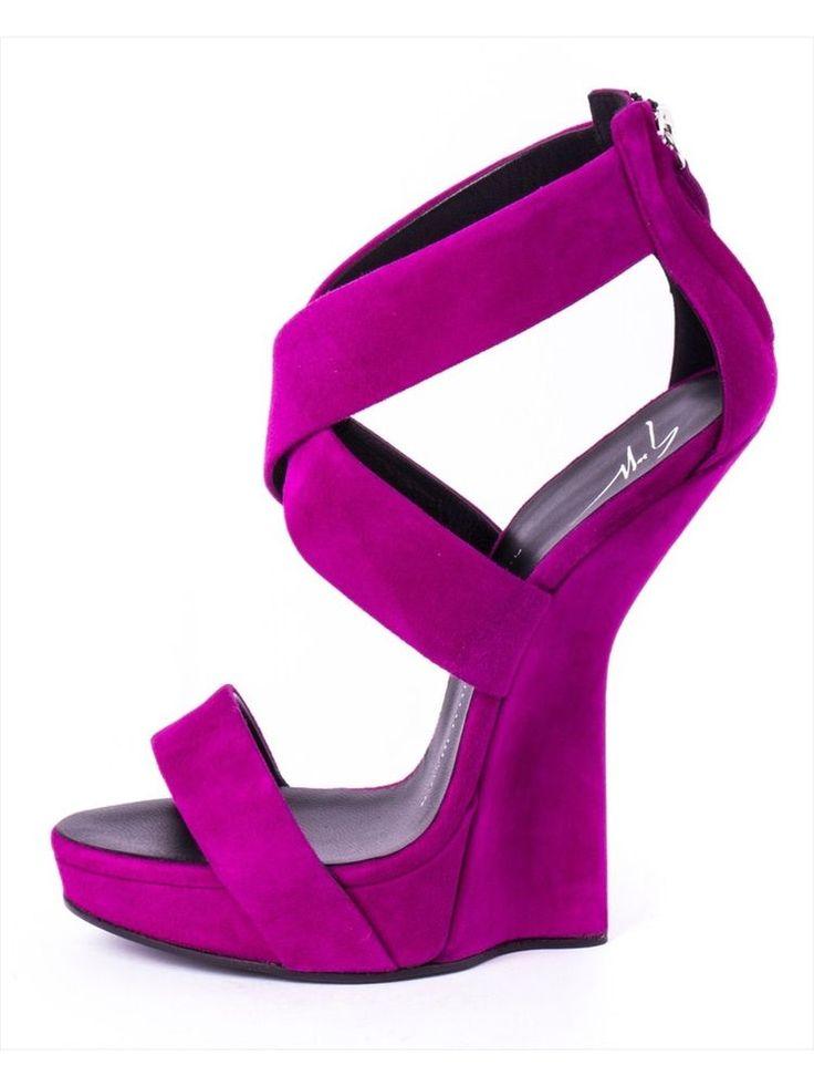 rt632 ZANOTTI sandali camoscio viola DONNA WOMEN'S suede purple sandals
