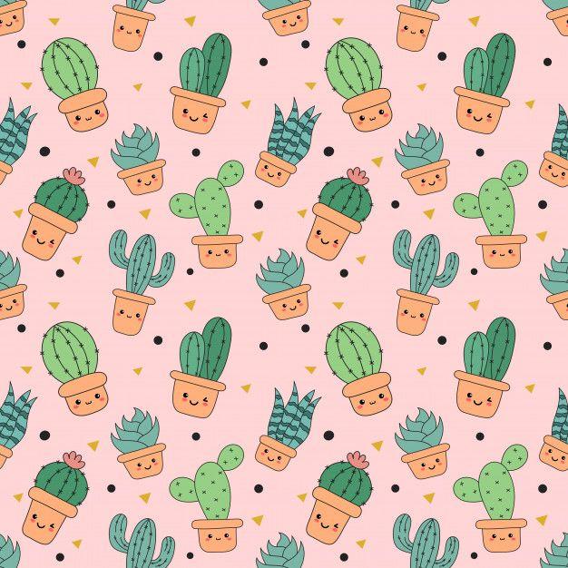 Kawaii Seamless Pattern Cute Funny Cactus Cartoon Isolated Cactus Cartoon Cute Wallpapers Cartoon Wallpaper